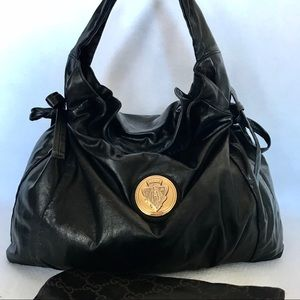 ♥️SWEET♥️ Black Leather GUCCI Hysteria & Dust Bag